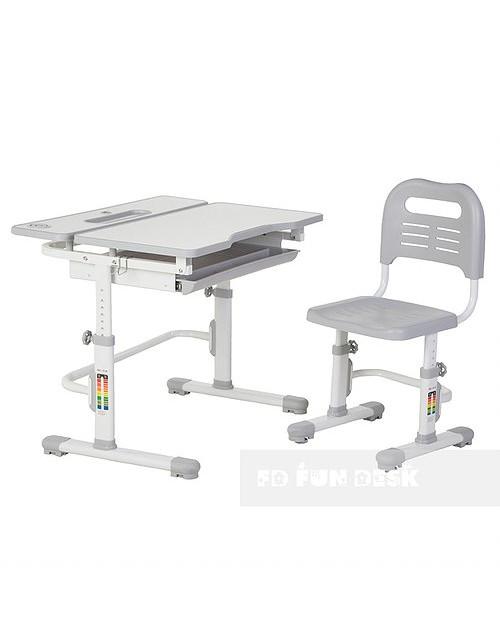 Lavoro Grey - Regulowane biurko z krzesełkiem