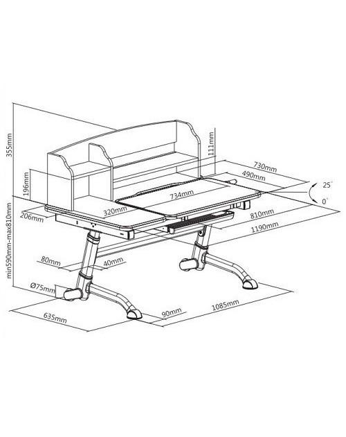Amare II Blue - regulowane biurko