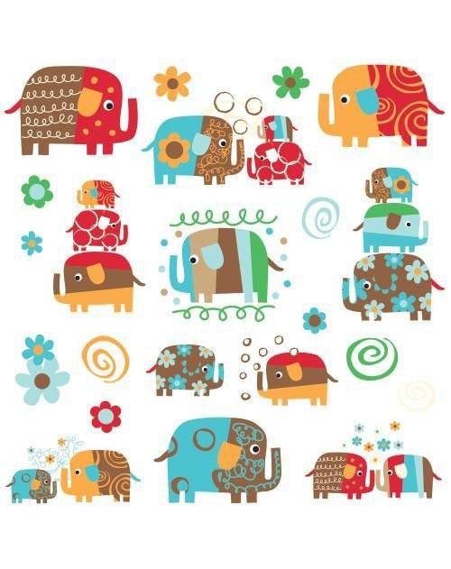 Naklejki - Kolorowe słonie